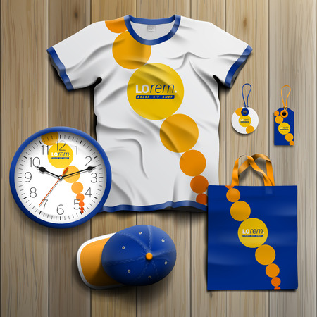 souvenirs: Blue promotional souvenirs design for corporate identity with yellow round elements. Stationery set