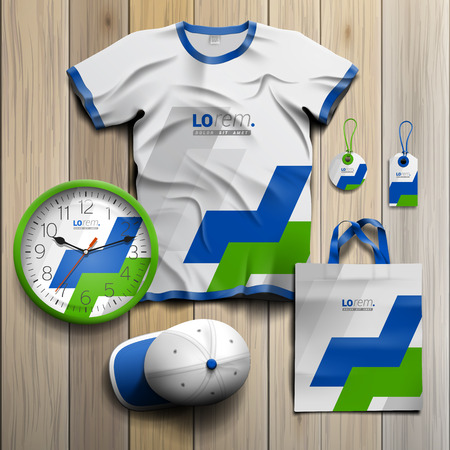 White promotional souvenirs design for corporate identity with green and blue geometric elements. Stationery set