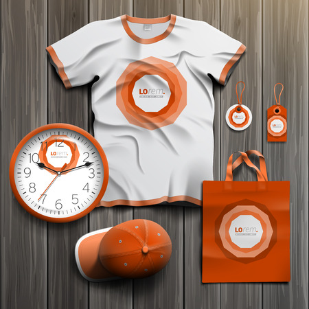 tshirts: Red classic promotional souvenirs design for corporate identity with round central element. Stationery set