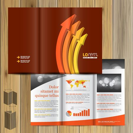 Red Brochure Template Design With Orange Arrows Cover Layout