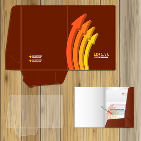 Red folder template design for corporate identity with orange arrows. Stationery set Illustration