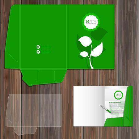 carpetas: Diseño de la plantilla carpeta verde floral de la identidad corporativa con hojas. Conjunto del papel Vectores