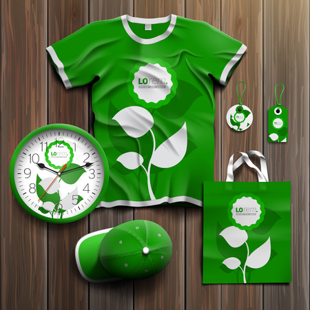 souvenirs: Floral green promotional souvenirs design for corporate identity with leaves. Stationery set
