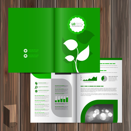 plant tree: Floral green brochure template design with leaves. Cover layout
