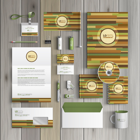 Natural wooden corporate identity template design with bamboo pattern. Business stationery