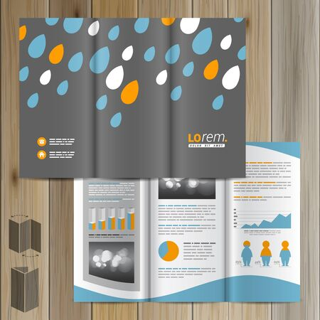 weather report: Nature gray brochure template design with blue and orange raindrops. Cover layout