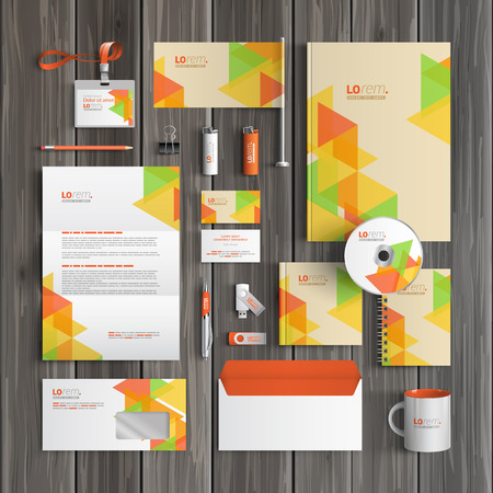corporate identity template: Creative corporate identity template design with color geometric pattern. Business stationery