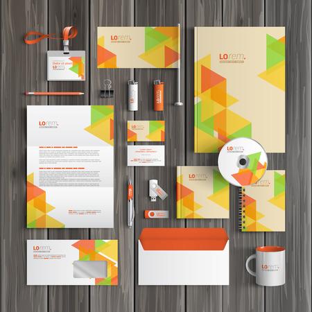 papeleria: Diseño corporativo creativo plantilla de identidad con el color patrón geométrico. Papel del asunto