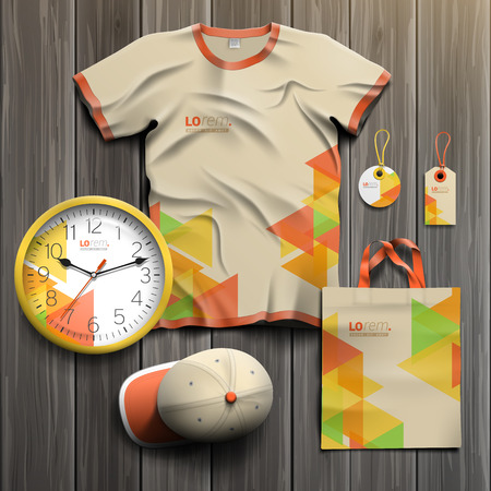 souvenirs: Creative promotional souvenirs design for corporate identity with color geometric pattern. Stationery set