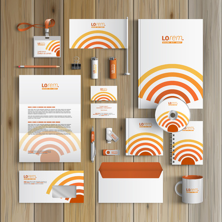 Technological corporate identity template design with radio wave. Business stationery Illustration