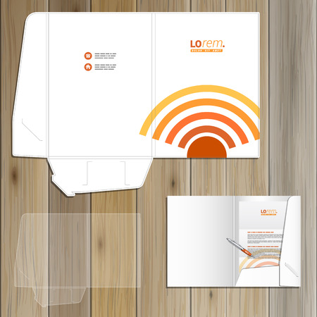 radio wave: Technological folder template design for corporate identity with radio wave. Stationery set Illustration