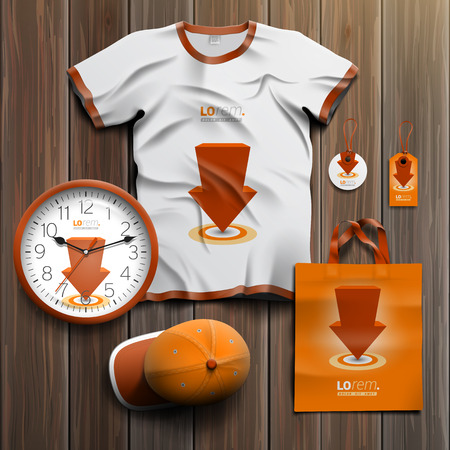 souvenirs: Orange promotional souvenirs design for corporate identity with red arrow. Stationery set