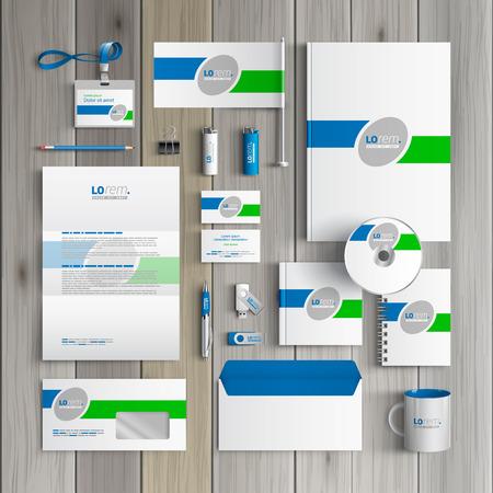 membrete: Diseño de la plantilla blanca clásica identidad corporativa con líneas verdes y azules. Papel del asunto Vectores