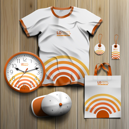 radio wave: Technological promotional souvenirs design for corporate identity with radio wave. Stationery set