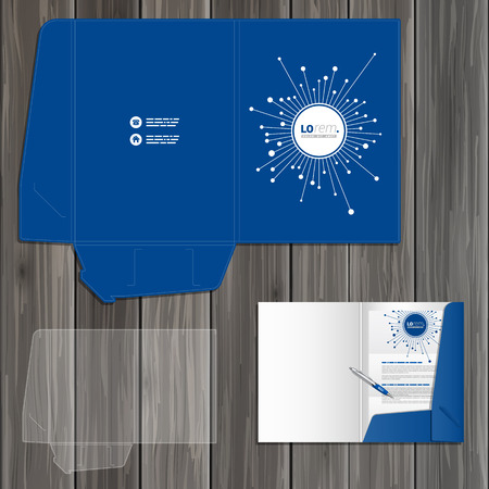 Blauwe digitale folder template ontwerp voor corporate identity met glasvezel elementen. Stationery set
