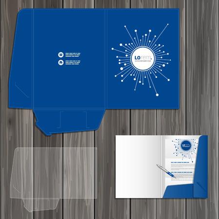 Blue digital folder template design for corporate identity with optical fiber elements. Stationery set