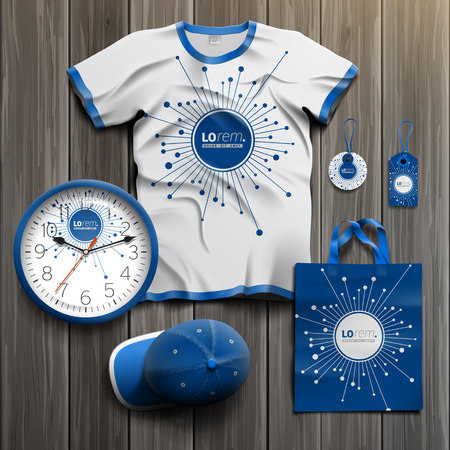 tshirts: Blue digital promotional souvenirs design for corporate identity with optical fiber elements. Stationery set