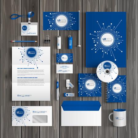 fibra �ptica: Dise�o digital azul plantilla de identidad corporativa con elementos de fibra �ptica. Papel del asunto