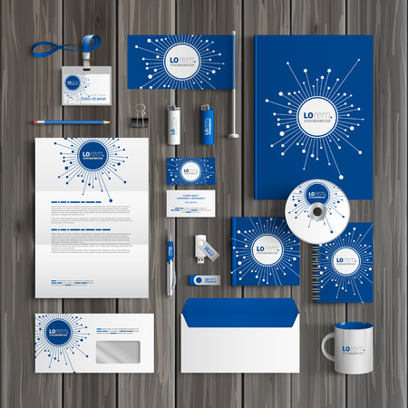 Blue digital corporate identity template design with optical fiber elements. Business stationery