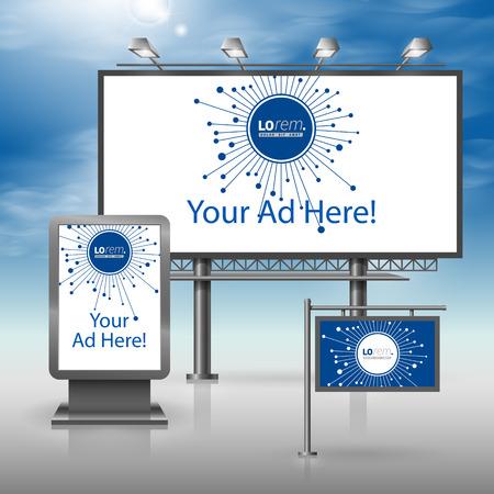 Blauwe digitale outdoor reclame-ontwerp voor de corporate identity met glasvezel elementen. Briefpapier set