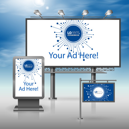 blue signage: Blue digital outdoor advertising design for corporate identity with optical fiber elements. Stationery set