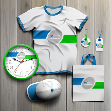 souvenirs: White classic promotional souvenirs design for corporate identity with green and blue lines. Stationery set