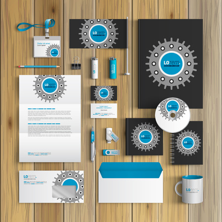 rackwheel: Black technical corporate identity template design with cogwheel. Business stationery