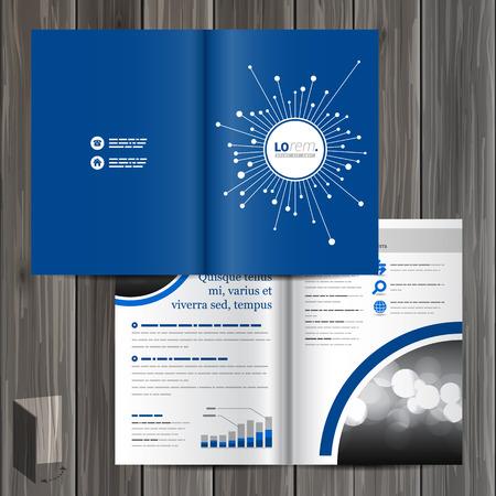 fibers: Blue digital brochure template design with optical fiber elements. Cover layout