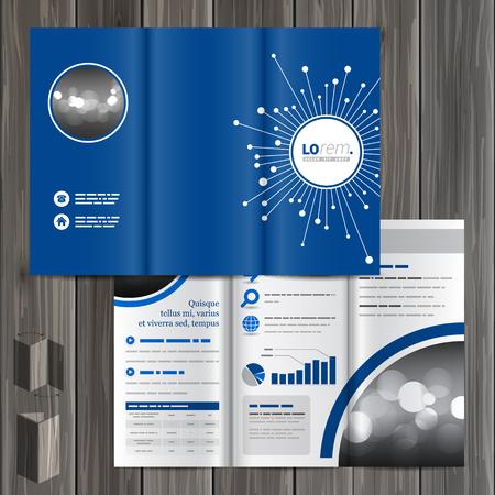 optical fiber: Blue digital brochure template design with optical fiber elements. Cover layout