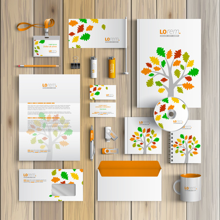 White spring corporate identity template design with color tree and leaves. Business stationery Illustration