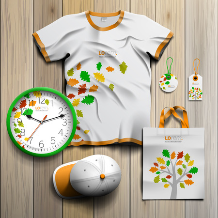 souvenirs: White spring promotional souvenirs design for corporate identity with color tree and leaves. Stationery set