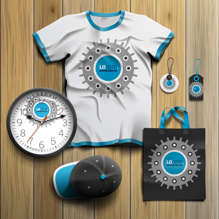 business shirts: Black technical promotional souvenirs design for corporate identity with cogwheel. Stationery set