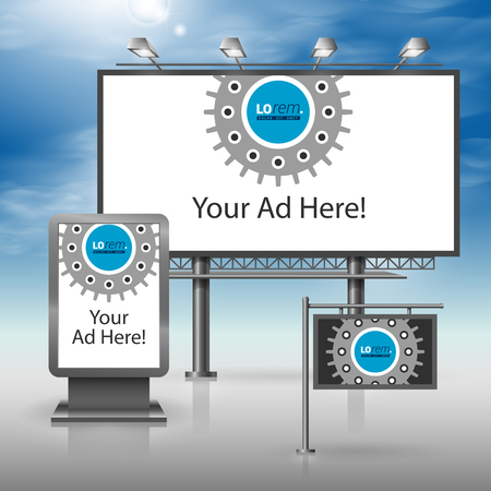 outdoor advertising: Black technical outdoor advertising design for corporate identity with cogwheel. Stationery set