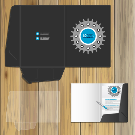 rackwheel: Black technical folder template design for corporate identity with cogwheel. Stationery set Illustration
