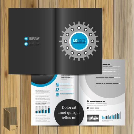 rackwheel: Black technical brochure template design with cogwheel. Cover layout Illustration