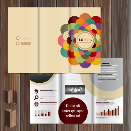 layout design template: Color brochure template design with round central element. Cover layout