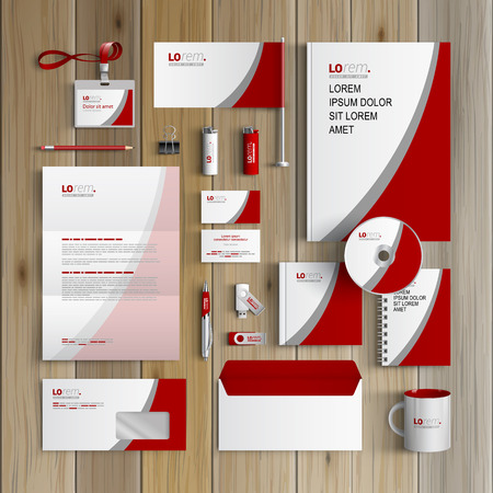 White classic corporate identity template design with red and gray lines. Business stationery Ilustração
