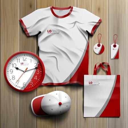 빨간색과 회색 선으로 기업의 정체성에 대한 흰색 클래식 홍보 기념품 디자인. 문구 세트