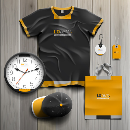 souvenirs: Black classic promotional souvenirs design for corporate identity with yellow shapes. Stationery set Illustration