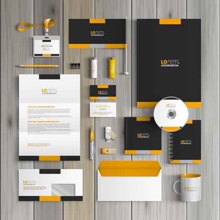 papírnictví: Black classic corporate identity design šablony s žlutými tvary. Obchodní papírnictví