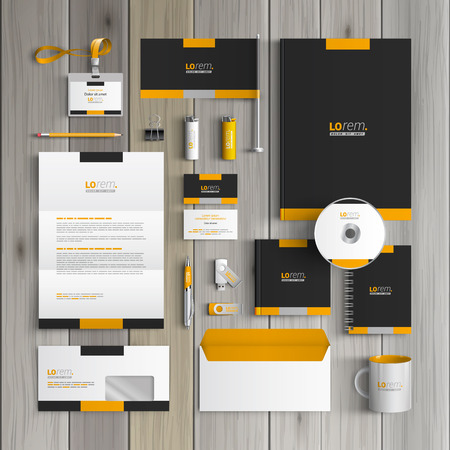 Zwarte klassieke corporate identity template design met gele vormen. Briefpapier