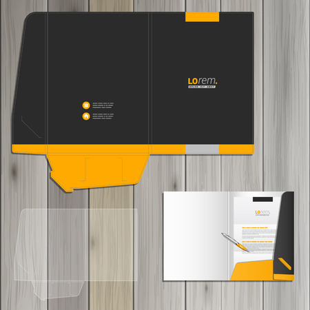 Black classic folder template design for corporate identity with yellow shapes. Stationery set