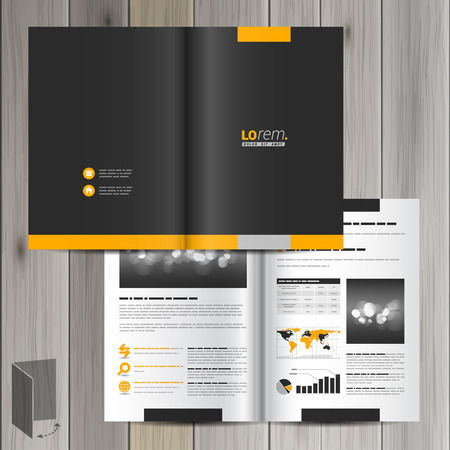 amarillo y negro: Diseño clásico negro plantilla de folleto con formas amarillas. El diseño de la cubierta