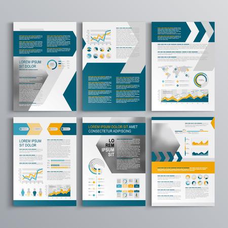 Dynamiczny szablon broszura z żółtymi i niebieskimi strzałkami. Okładka i layout infografiki