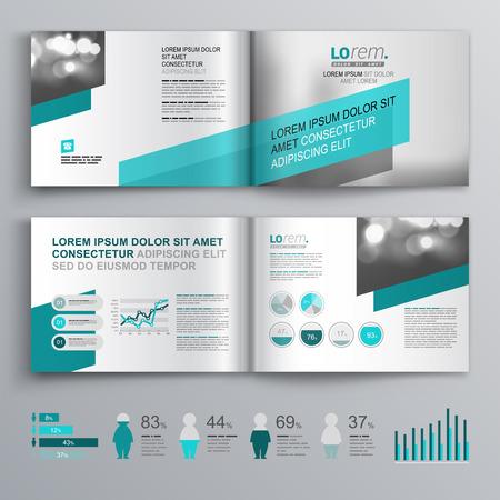 folders: Diseño del modelo del folleto gris con formas verdes diagonales. Diseño de la cubierta y la infografía