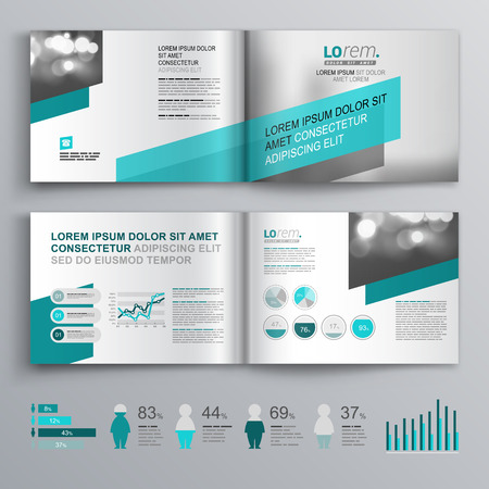 booklet: Gray brochure template design with green diagonal shapes. Cover layout and infographics