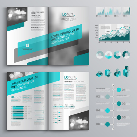 catalog design: Gray brochure template design with green diagonal shapes. Cover layout and infographics