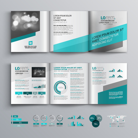 corporate brochure: Gray brochure template design with green diagonal shapes. Cover layout and infographics
