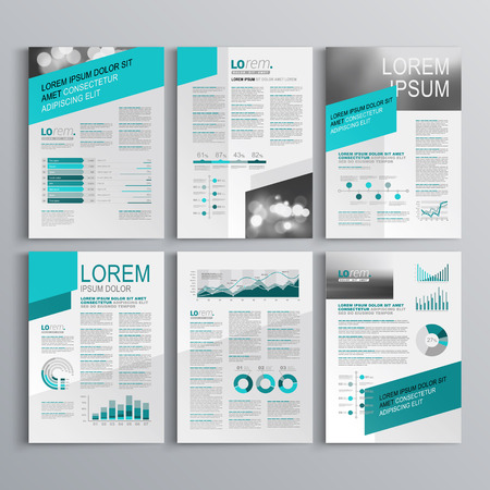 graph report: Gray brochure template design with green diagonal shapes. Cover layout and infographics