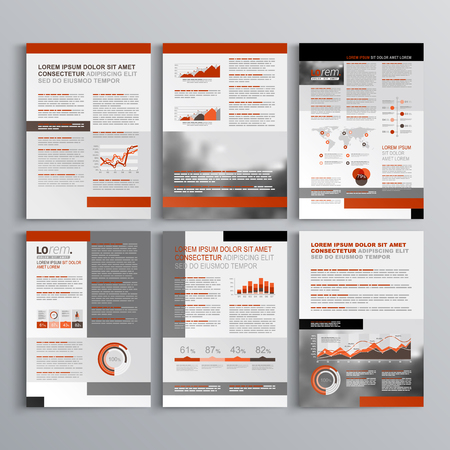 magazine design: Classic brochure template design with gray and red shapes. Cover layout and infographics